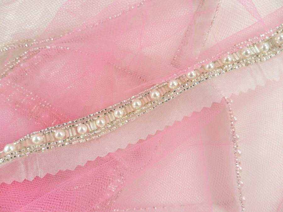 Silver Beaded Bridal Sewing Trim accented w/ Pearls FS4537