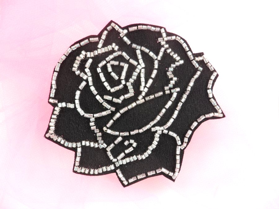 Applique Patch Black Silver Rose Floral Beaded Sewing Motif  4 FS582