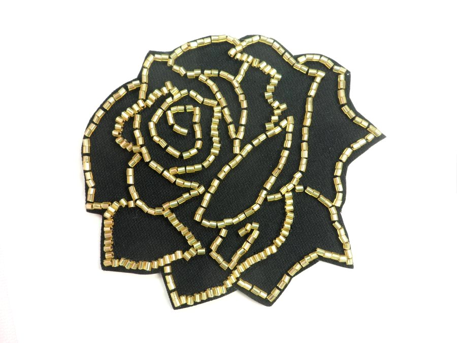 Applique Patch Black Gold Rose Floral Beaded Sewing Motif  4 FS582