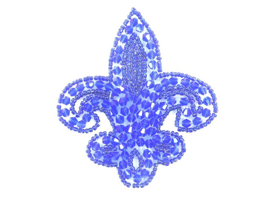 Fleur De Lis Blue Beaded Applique Motif 3.5 JB95