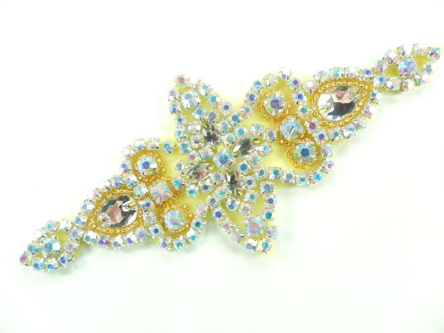 Applique Aurora Borealis Crystal AB Rhinestone in Silver Settings w/ Gold Beads 6  JB47