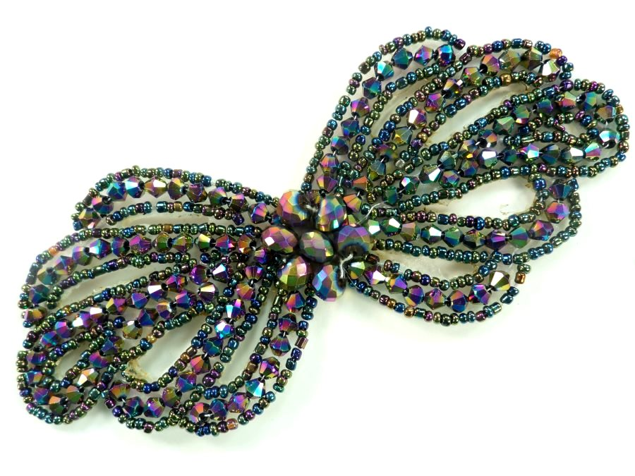 Applique Patch Glass Beaded Peacock Costume Sewing Motif 5 JB213