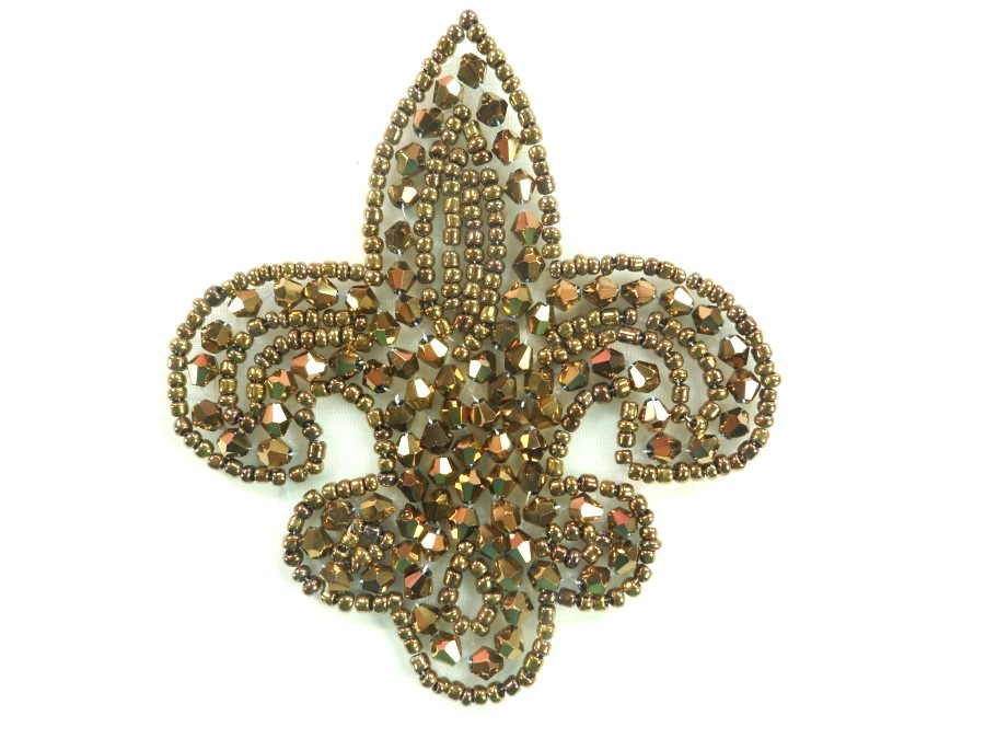 Fleur De Lis Bronze Beaded Applique Motif 3.5 JB95