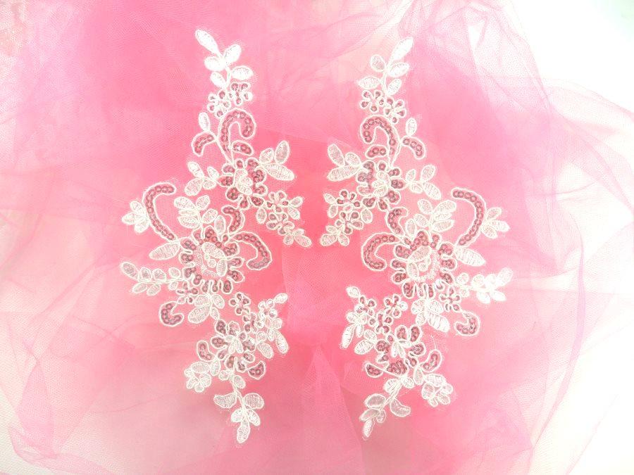 Embroidered Venice Lace Sequin Appliques White Floral Venice Lace Mirror Pair 9.5  DH123X