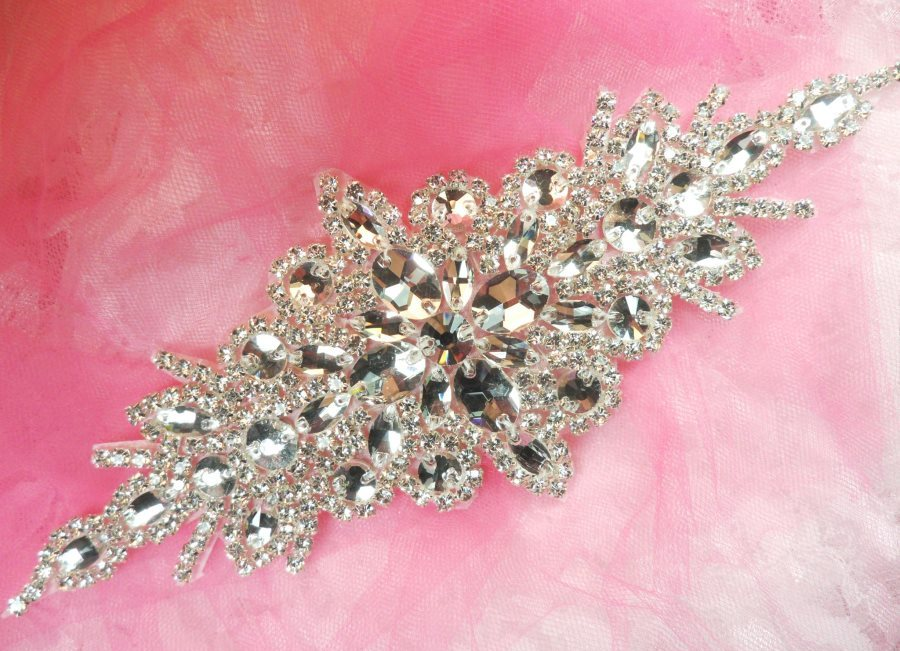 DH10 Bridal Sash Applique Crystal Rhinestone 9