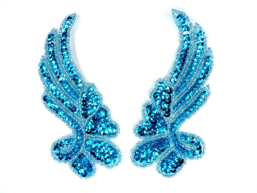Sequin Appliques Turquoise Beaded Mirror Pair Dance Costume Patch 7 XR388X