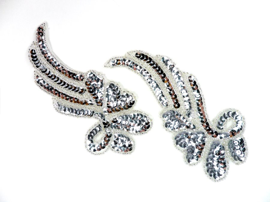 Sequin Appliques Silver Beaded Mirror Pair Dance Costume Patch 7 XR388X