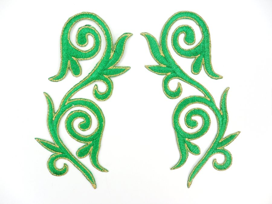 Embroidered Applique Mirror Pair Green Gold Metallic Iron On Patch 5.25 GB120X