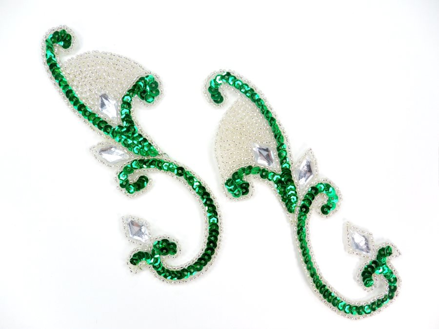 REDUCED Sequin Appliques Mirror Pair Green with Clear Jewels Costume Patch Motifs 6 RM0034
