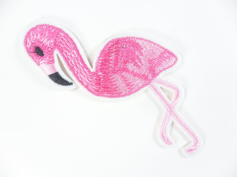 Flamingo Embroidered Applique Pink Iron On Patch 4 GB704