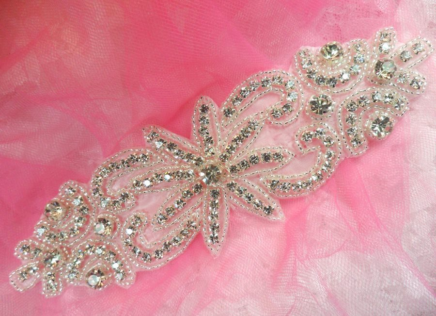 Rhinestone Applique Crystal Glass Silver Beaded Bridal Sash Patch 7.5 (XR363)