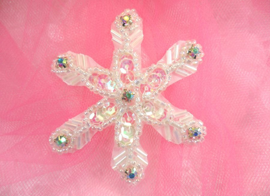 Crystal AB Rhinestone Snowflake Applique w/ Crystal AB Sequins and Beads 2.5 (XR74)