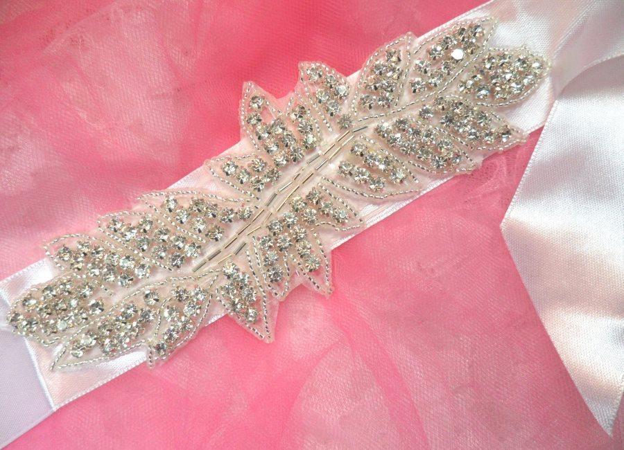 Bridal Sash Crystal Rhinestone Silver Setting On White Satin Double Face Ribbon (BSZ9)