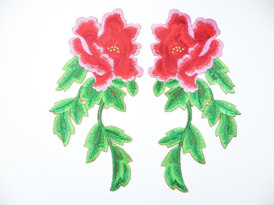 Red Pink Embroidered Appliques Floral Mirror Pairs 7.5 GB695X