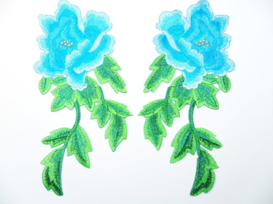 Turquoise Embroidered Appliques Floral Mirror Pairs 7.5 GB695X