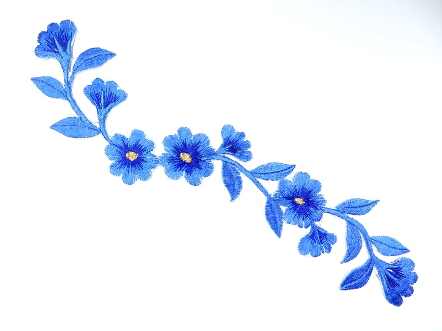 Floral embroidered applique blue dance costume craft patch
