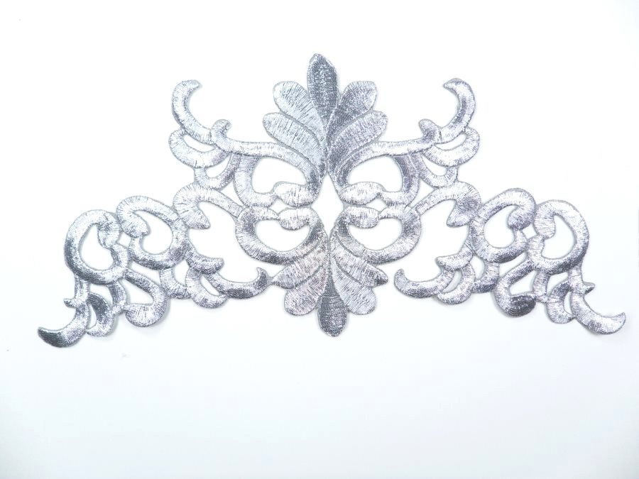 Silver Embroidered Applique Metallic Designer Scroll Motif 8 RMGB687