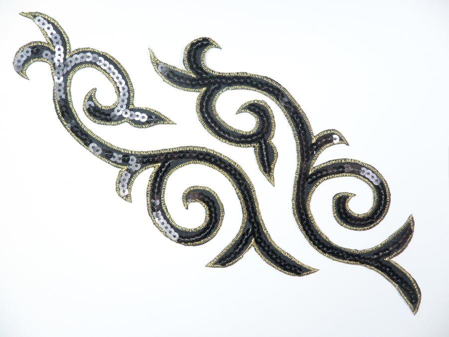 Sequin Embroidered Appliques Black Gold Designer Mirror Pair Iron on 9 (GB505X)