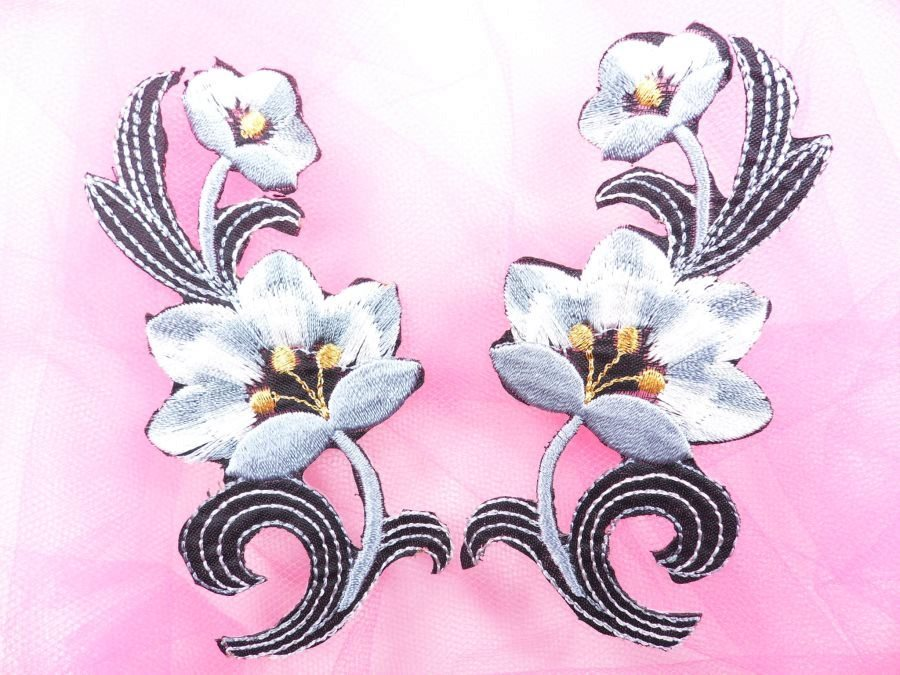 Gray Embroidered Appliques Floral Mirror Pairs 3.75 GB696X