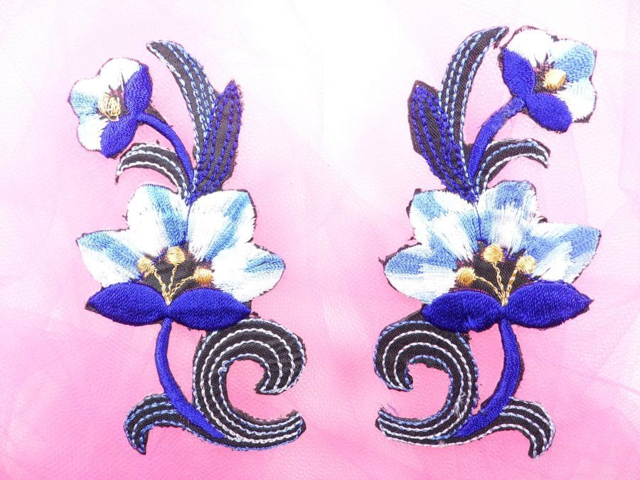 Blue Embroidered Appliques Floral Mirror Pairs 3.75 GB696X