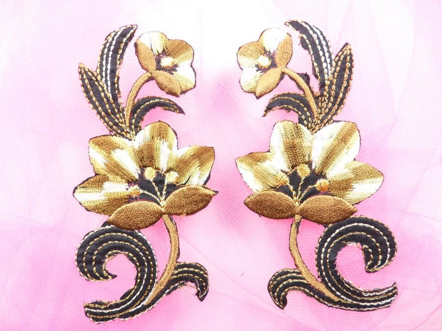 Brown Embroidered Appliques Floral Mirror Pairs 3.75 GB696X