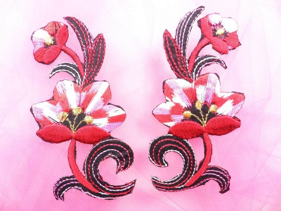 Red Pink Embroidered Appliques Floral Mirror Pairs 3.75 GB696X