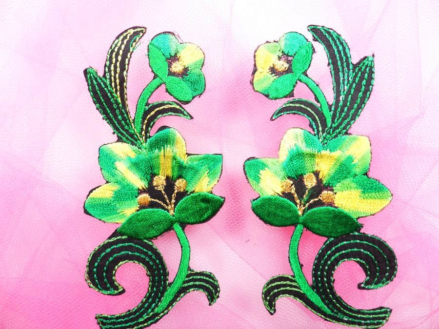 Green Embroidered Appliques Floral Mirror Pairs 3.75 GB696X