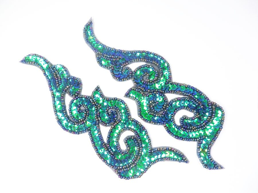 Peacock Sequin Appliques Beaded Scroll Mirror Pair Patch Iron on 7 JB233X