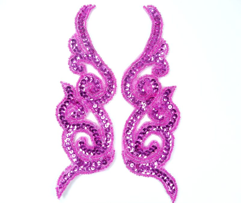 Sequin Appliques Beaded Scroll Mirror Pair Patch Iron on 7 JB233X
