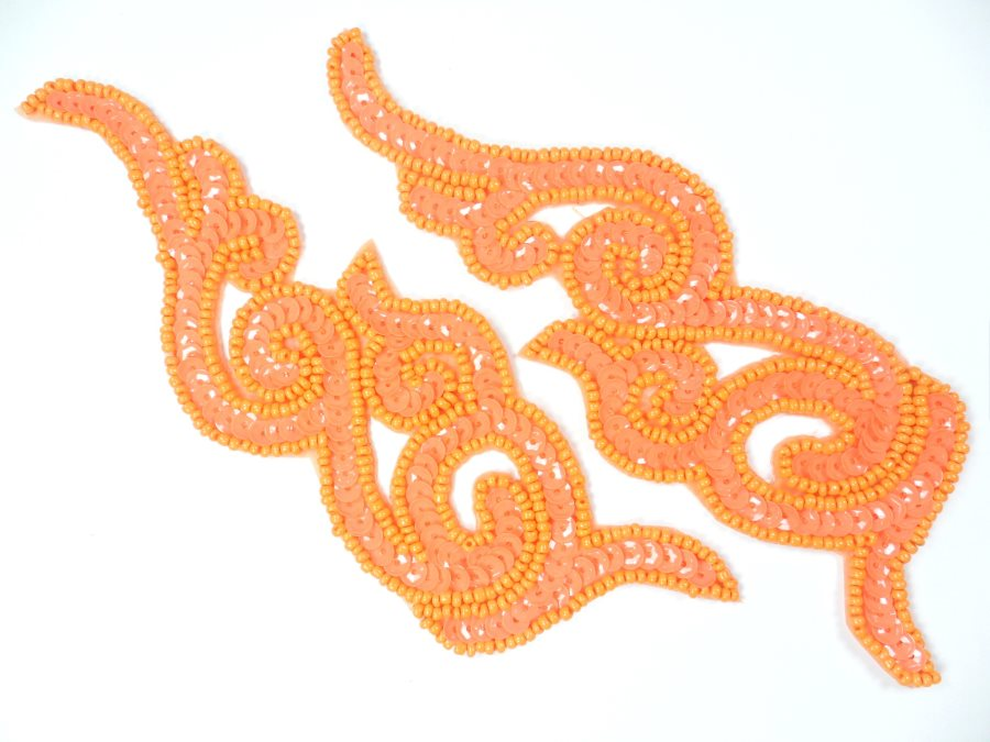 Orange Sequin Appliques Beaded Scroll Mirror Pair Patch Iron on 7 JB233X