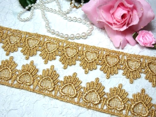 C124  Metallic Gold Venice Lace Victorian Sewing Trim 1.75\