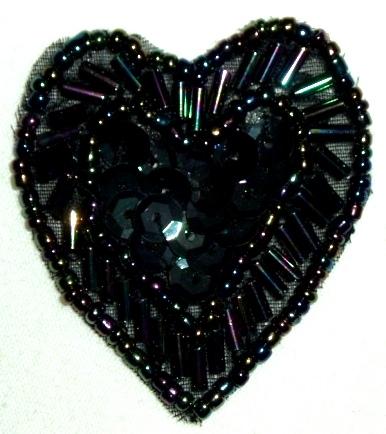 LC311  Black AB Heart Sequin Beaded Applique  1.75