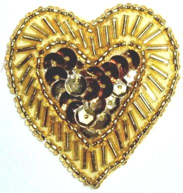 LC311  Gold Heart Sequin Beaded Applique  1.75