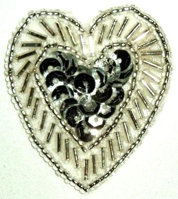 LC311  Silver Heart Sequin Beaded Applique  1.75