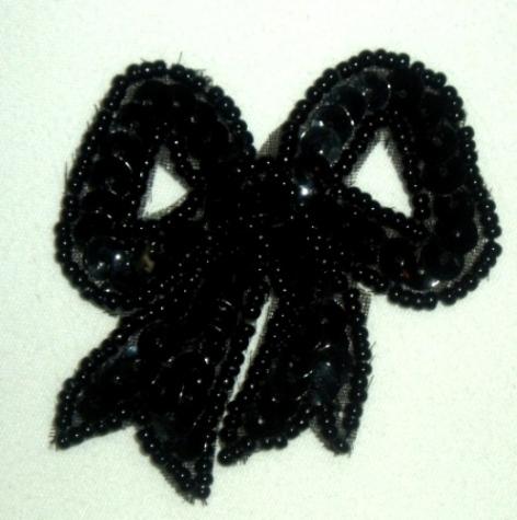 LC359  Black Bow Sequin Beaded Applique  2.25