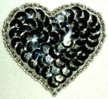 LC364  Silver Heart Sequin Beaded Applique  1.5