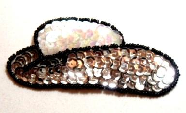 EB12  Silver Cowboy Hat Sequin Beaded Applique 3.5