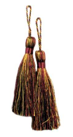 E5524  Set of Two Cranberry Gold Sage Fiber Tassels 3.75\
