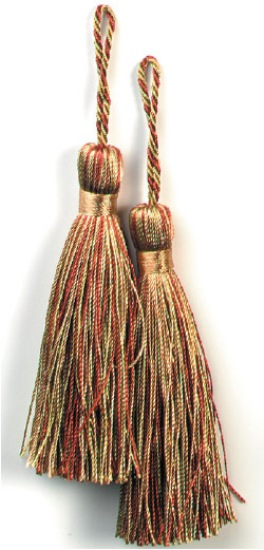 E5524  Set of Two Brown and Sage Mix Tassels 3.75
