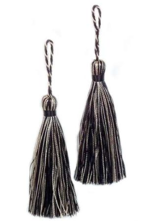 E5524  Set of Two Black Multi Tassels 3.75""