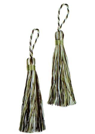 E5524  Set of Two Brown Sage Ivory Fiber Tassels 3.75\