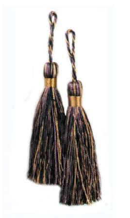E5524  Set of Two Brown Plum Black Fiber Tassels 3.75""