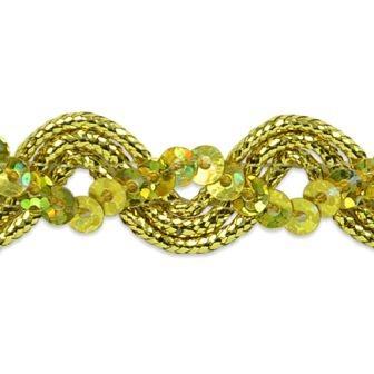 E6962 Gold Metallic Braid Sequin Sewing Craft Trim 5/8\