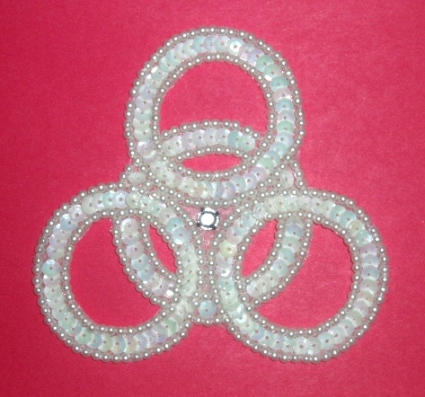 E833  White AB Wedding Rings Sequin Beaded Applique 4.25