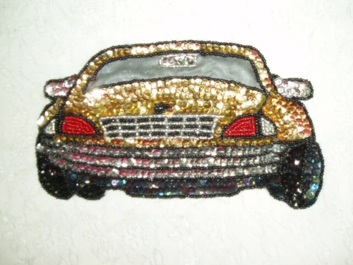 EA25  Gold Car Sequin Beaded Applique 7