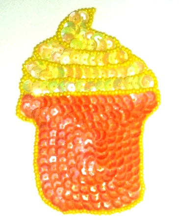 EB2  Cup Cake Sequin Beaded Applique 4