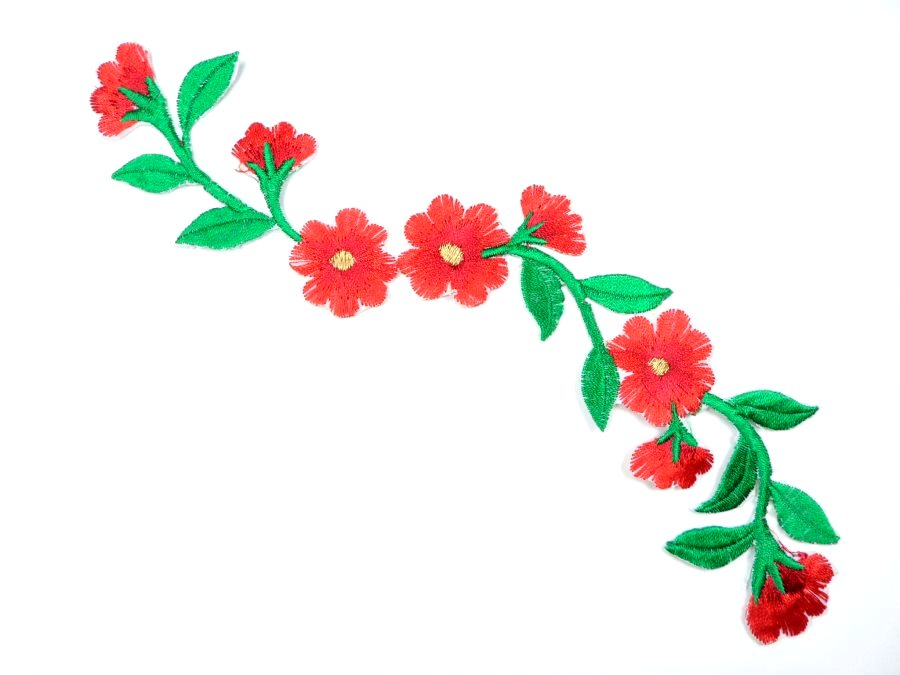 Floral Embroidered Applique Red Dance Costume Craft Patch 9.5 GB720