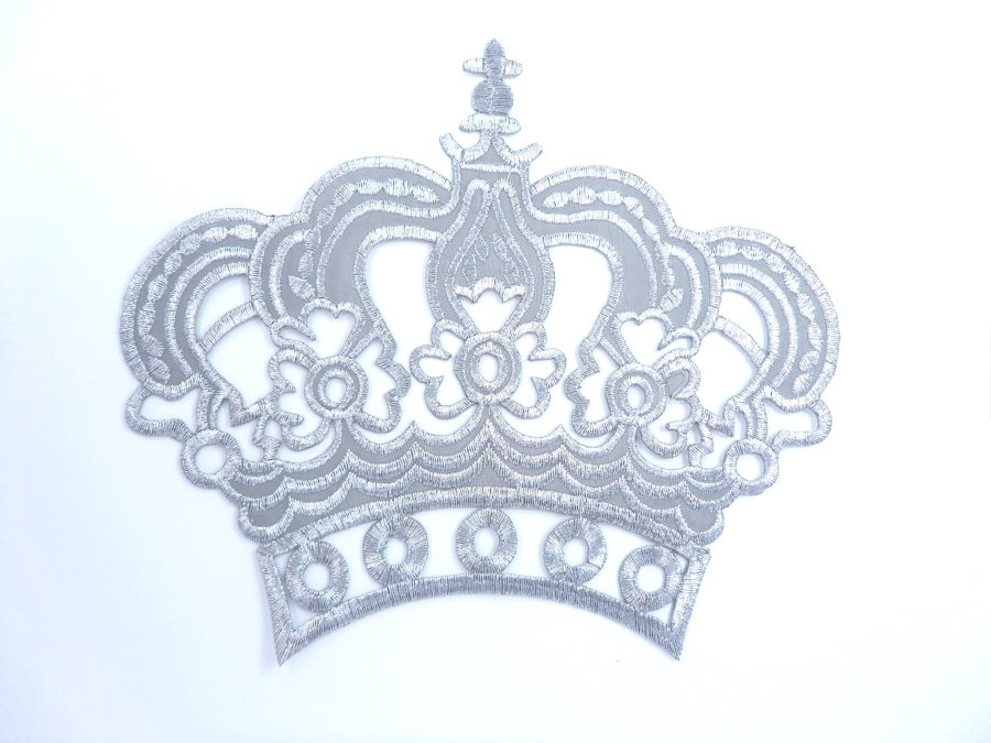 Silver Metallic Crown Iron On Embroidered Applique Iron on Sewing Patch 6 GB1001