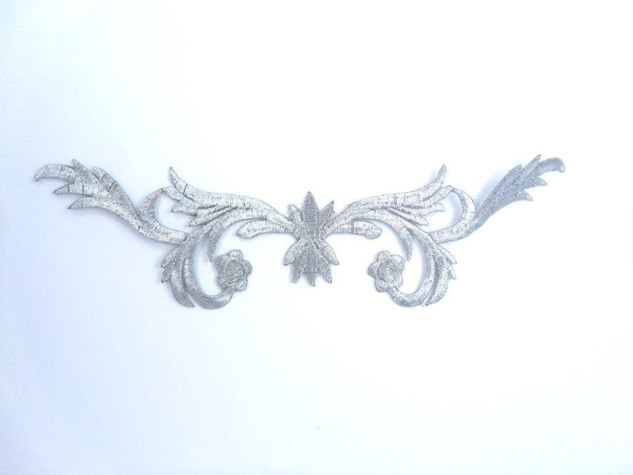 Silver Metallic Design Iron On Embroidered Applique 8 GB1002
