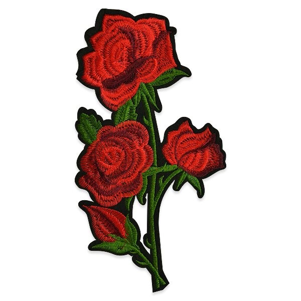 Red Rose Applique Embroidered Iron On Clothing Patch 9 ESA6364